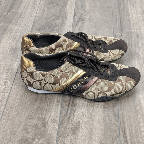 Coach Jayme Sneakers Monogram Gold Brown Sz 8
